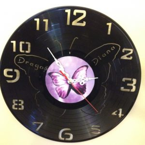 Cadou - Ceas perete disc vinil fluture