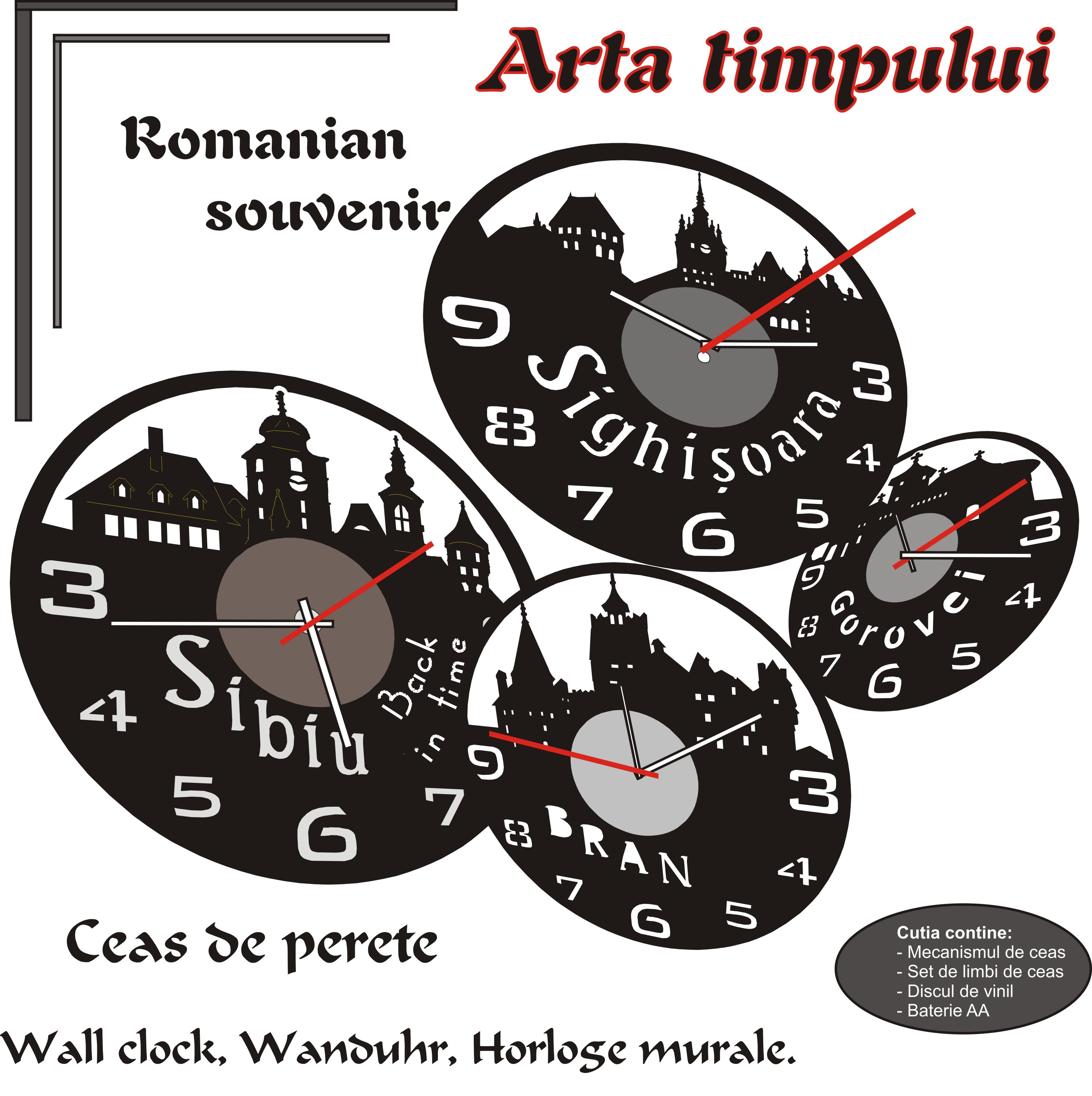 Ceasuri decupate in disc de vinil - Un cadou inedit